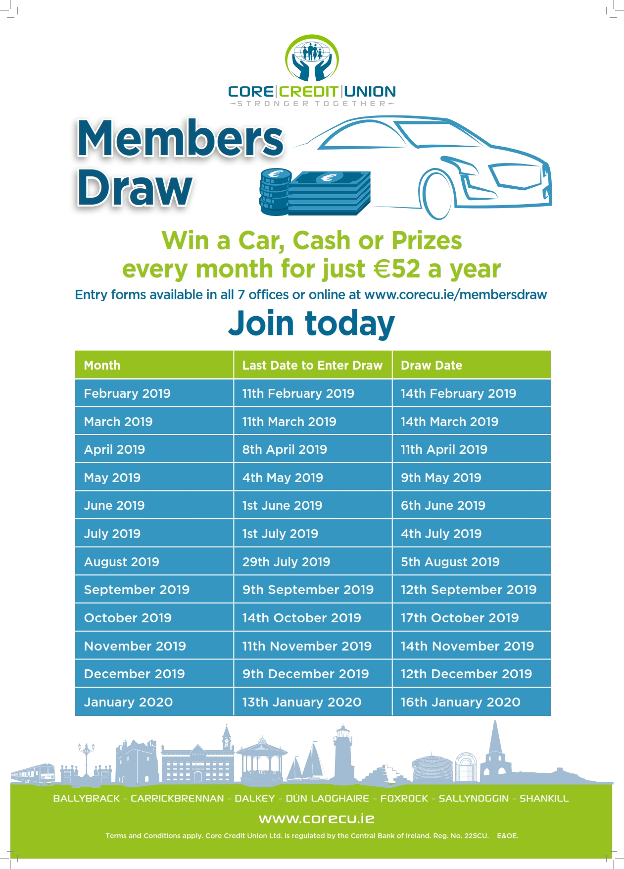 Win a Car every month all for €52 a year with Core Credit Union